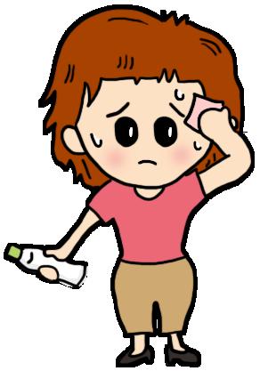夏バテ気味で、ドリンク片手に汗を拭きながら困っている女性
