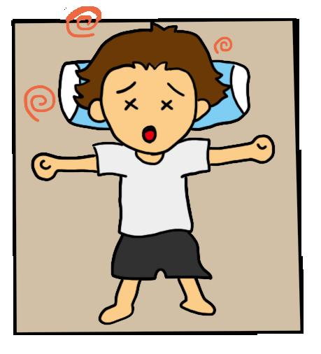 夏バテして、あまりの辛さにベッドに横たわる男性